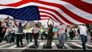 Immigration-demonstration-wtih-flag
