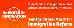 """La llamada """"March for Innovation"""" (Marcha por la Innovación), está planeada para el 22 y 23 de mayo, con el objetivo de que la gente utilice Twitter, Reddit, Facebook y otras ciberplataformas sociales para presionar al Congreso a que apruebe la iniciativa migratoria,"""