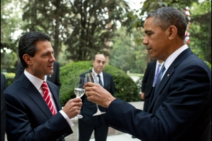 President Barack Obama and President Enrique Peña Nieto of Mexico share a toast prior to a working dinner at Los Pinos, Mexico City, Mexico, May 2, 2013. (Official White House Photo by Pete Souza)