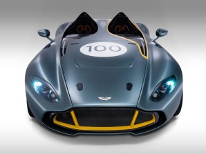 The Aston Martin CC100: The front grille, which is wider than the traditional Aston Martin grille, is one feature that will be seen on future Aston Martin sports cars, as is the distinct crease between the front fenders and hood.