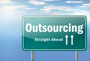 "Highway Signpost ""Outsourcing - Straight Ahead"""