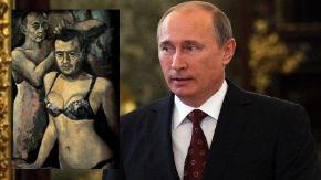 El gobierno de Vladimir Putin consideró inapropiada un cuadro del presidente de Rusia en ropa interior femenina.