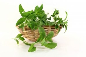 14289889-a-basket-with-stevia-on-a-white-background