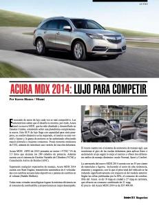 ACURA MDX 2014- LUJO PARA COMPETIR