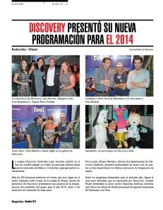 DISCOVERY  PROGRAMACIÓN PARA EL 2014