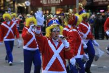 Clowns march in the 87th Macy's Thanksgiving Day Parade in New York, Thursday, Nov. 28, 2013.