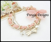 Price $ 25.00 Product Fashion Bracelets Specification 18.5CM 28.5G Color Pink\Orange\Blue\Black\Red\White Material Metal \ Imitation pearls