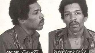 Jimi Hendrix. Arrestado en 1969 en Toronto luego de que encontraran drogas en su equipaje.