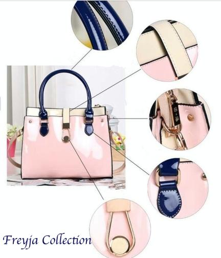 cartera rosa y azul
