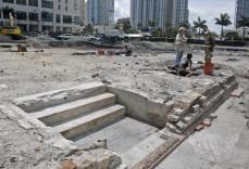 The steps from the Royal Palm Hotel, built by Henry Flagler in 1896, are uncovered during a dig at a downtown construction site.